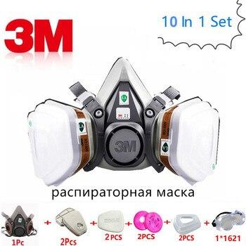 Masque respiratoire à gaz, masque respiratoire à gaz 10 en 1 3M 6200 filtre à carbone Protection des cartouches respiratoires en aérosol masque à poussière de sécurité industrie chimique