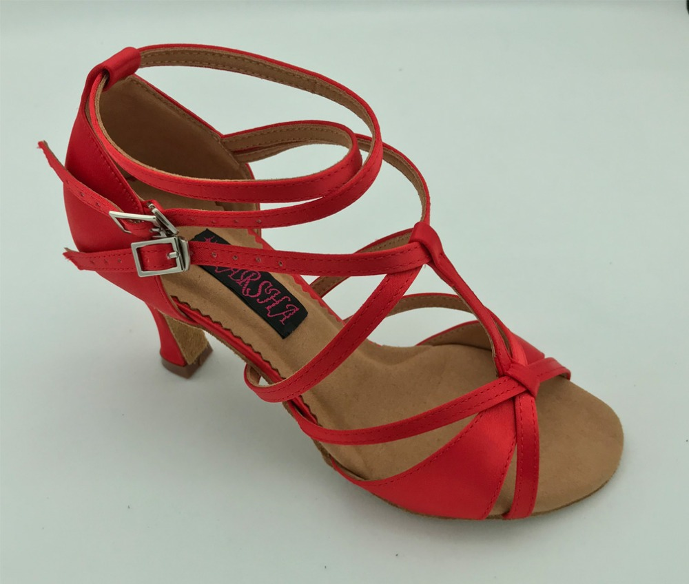 Fashional berufs womens latin dance schuhe ballsaal salsa tango schuhe hochzeit & party schuhe rot satin 6232R