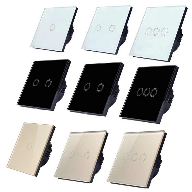 1/2/3/pandilla 1 manera Panel de vidrio de cristal de la UE/Reino Unido estándar inteligente interruptor Contorl Luz pantalla táctil Panel interruptor de 2 pc