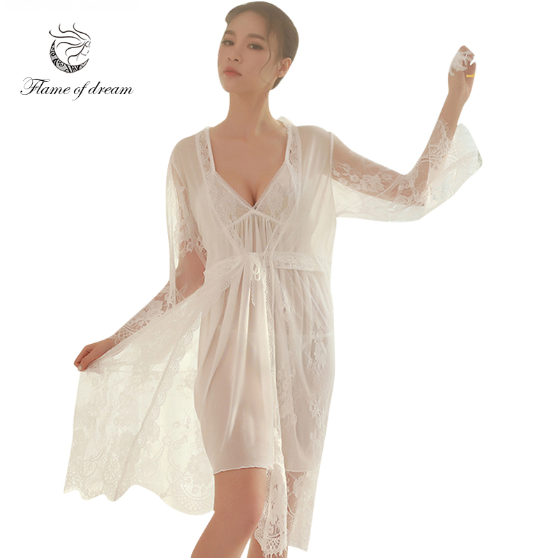 Lace Robe Robe Nightgown Princess Sleepwears Nightdress Robe Lace Suit Women 8635