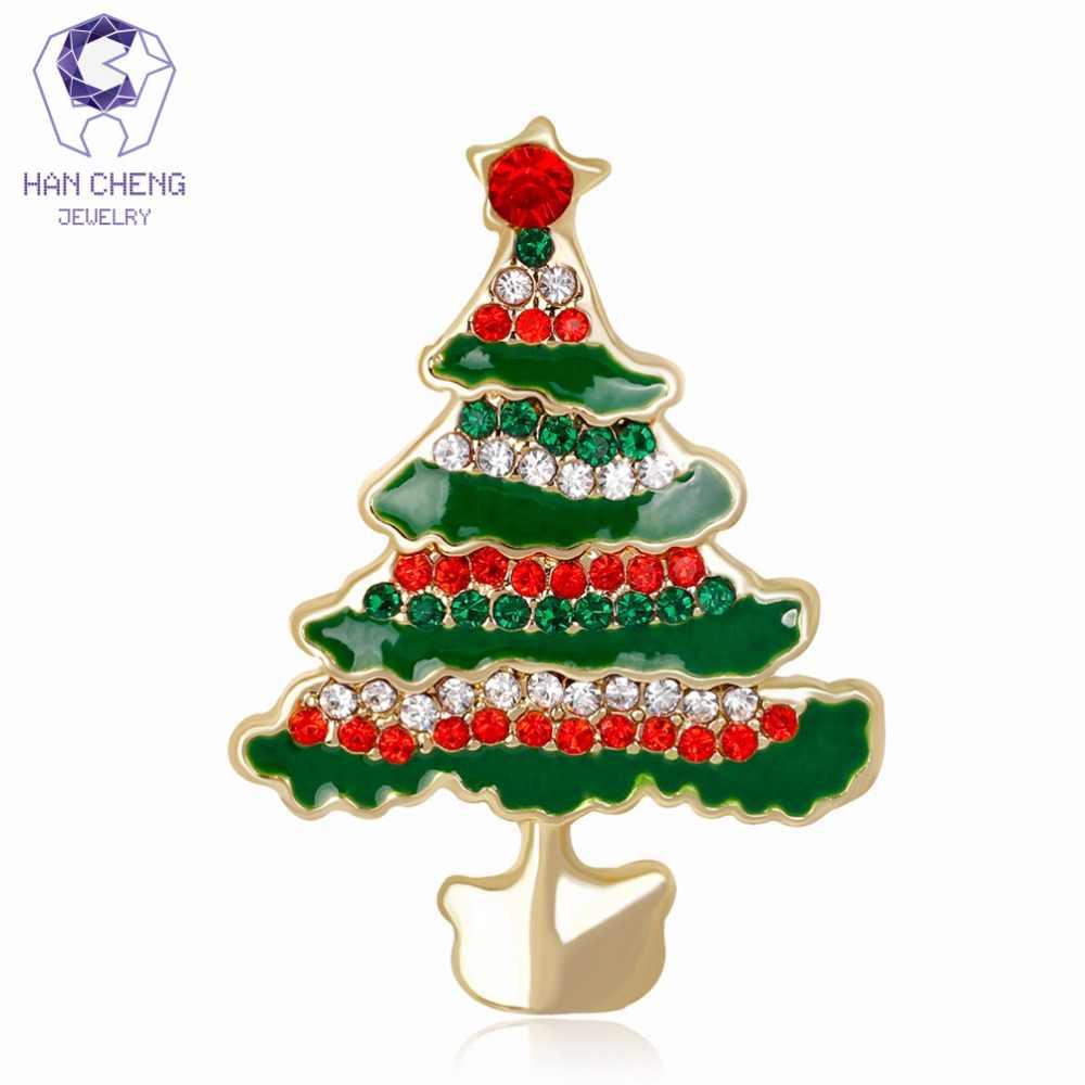 Han Cheng Hot Fashion Glaze Emas Berlian Imitasi Kristal Pohon Natal Bros Pin dan Bros untuk Wanita Perhiasan Hadiah Tahun Baru