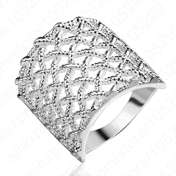JEXXI Exquisite Real Pure 925 Sterling Silver Rings Hollow Design Man Woman Special Wide Rings 2 Sizes US And Europe Jewelry
