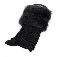 Хлопок, женские зимние теплые вязаные гетры с меховой отделкой, манжеты, носки для обуви, 1 пара