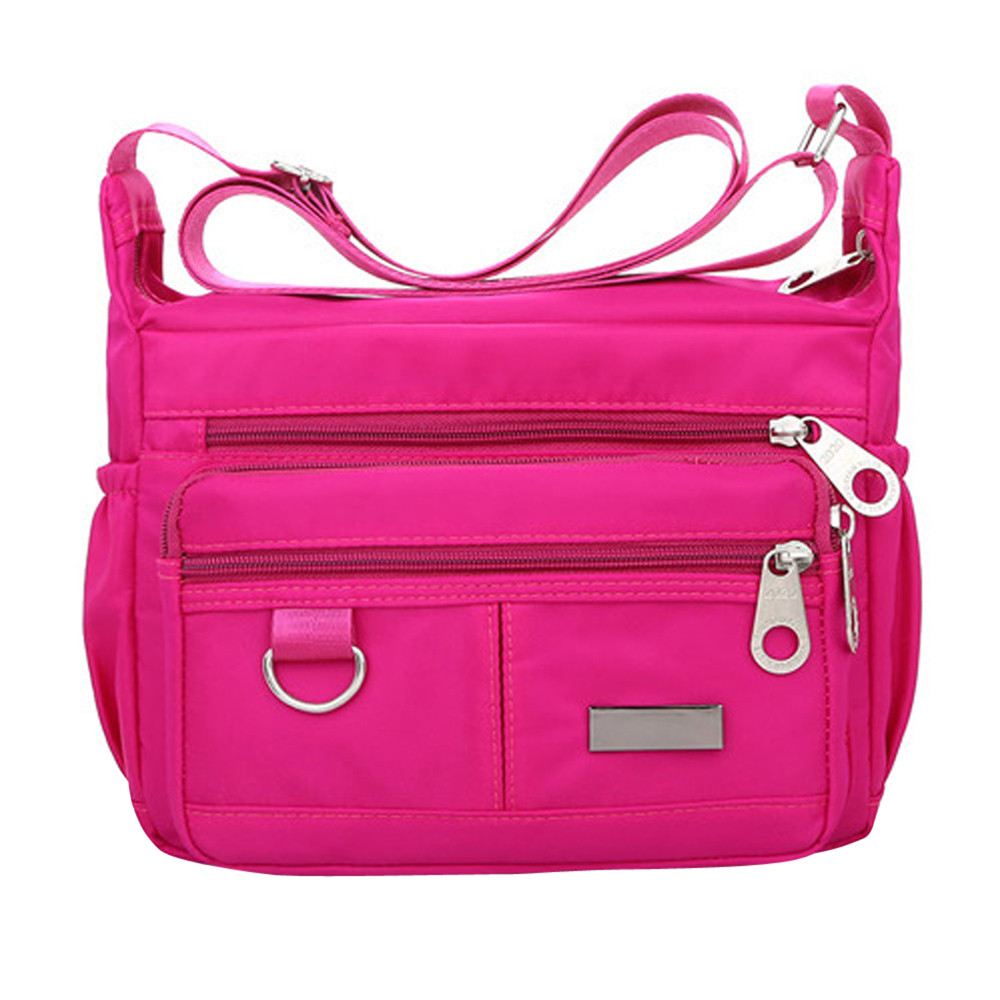 Women Fashion Solid Color Zipper Waterproof Nylon Shoulder Bag  Handbags,Shoulder Bag purple 25cm*19cm*9cm 42