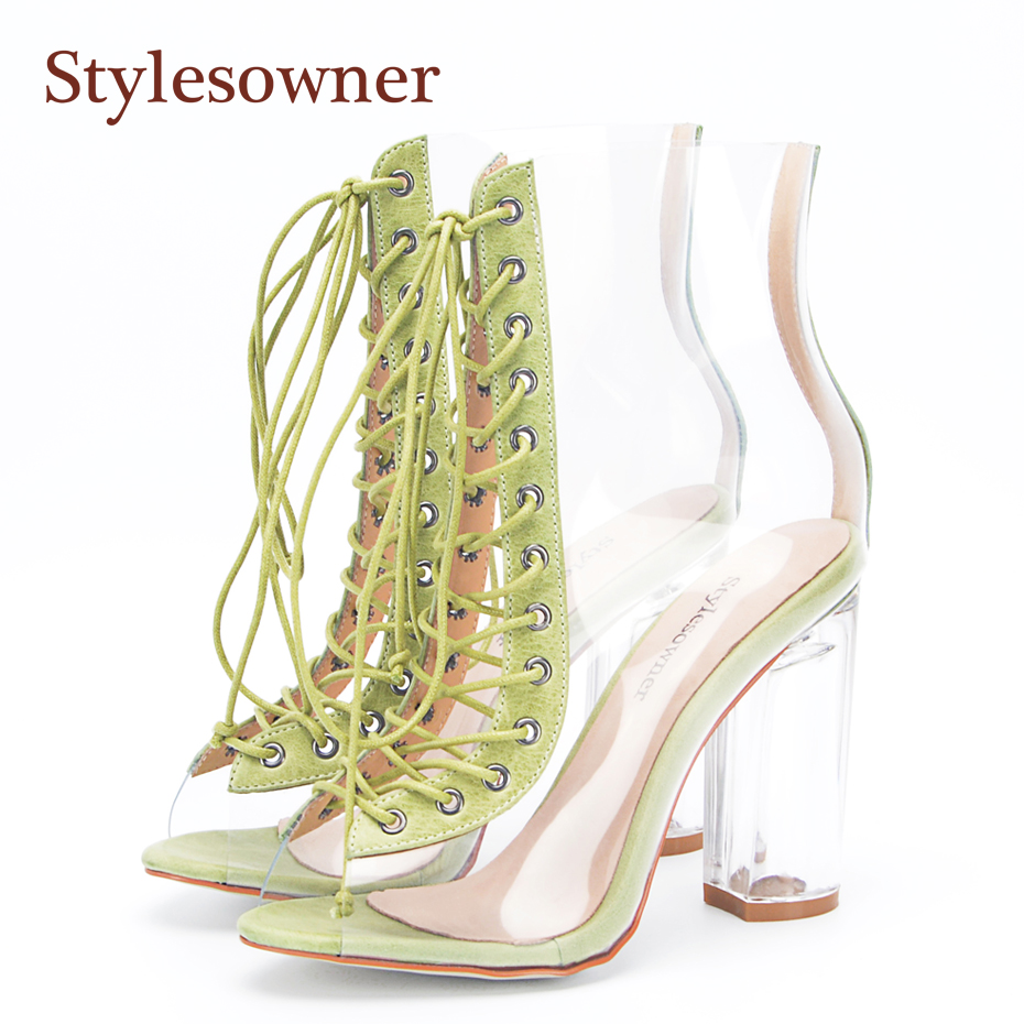Stylesowner New Summer Sandals Boots 2018 New Sexy PVC Real Leather Transparent Gladiator Boots Peep Toe Clear Chunky Heel Shoe недорго, оригинальная цена