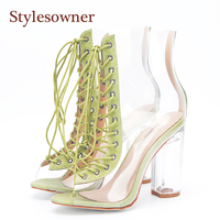 Stylesowner New Summer Sandals Boots 2018 New Sexy PVC Real Leather Transparent Gladiator Boots Peep Toe