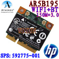 Wireless wifi N + Bluetooth BT 3.0 Half PCI-E Card Atheros AR5B195 for HP 592775-001