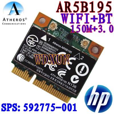 Wireless wifi N + Bluetooth BT 3.0 Half PCI-E Card Atheros AR5B195 for HP 592775-001
