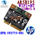Wireless wifi N + Bluetooth BT 3.0 media PCI-E tarjeta Atheros AR5B195 para HP 592775-001