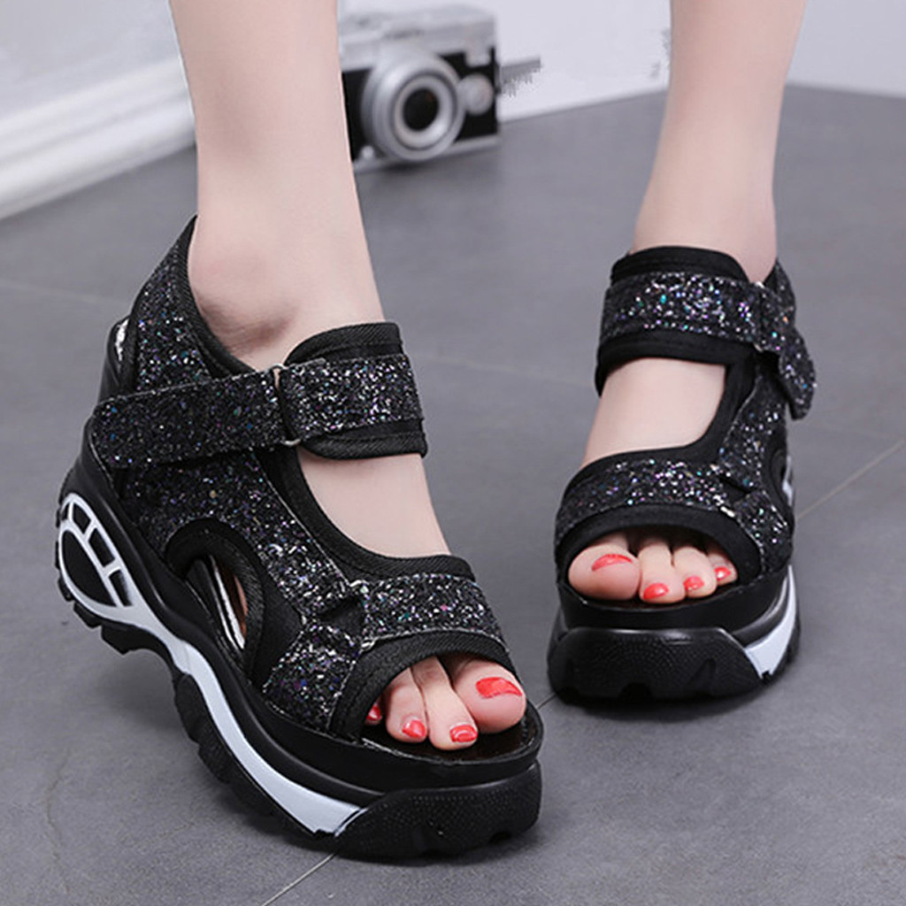 Women Shoes Platform-Sandals Wedges Comfortable New-Fashion Thick-Bottom Casual White