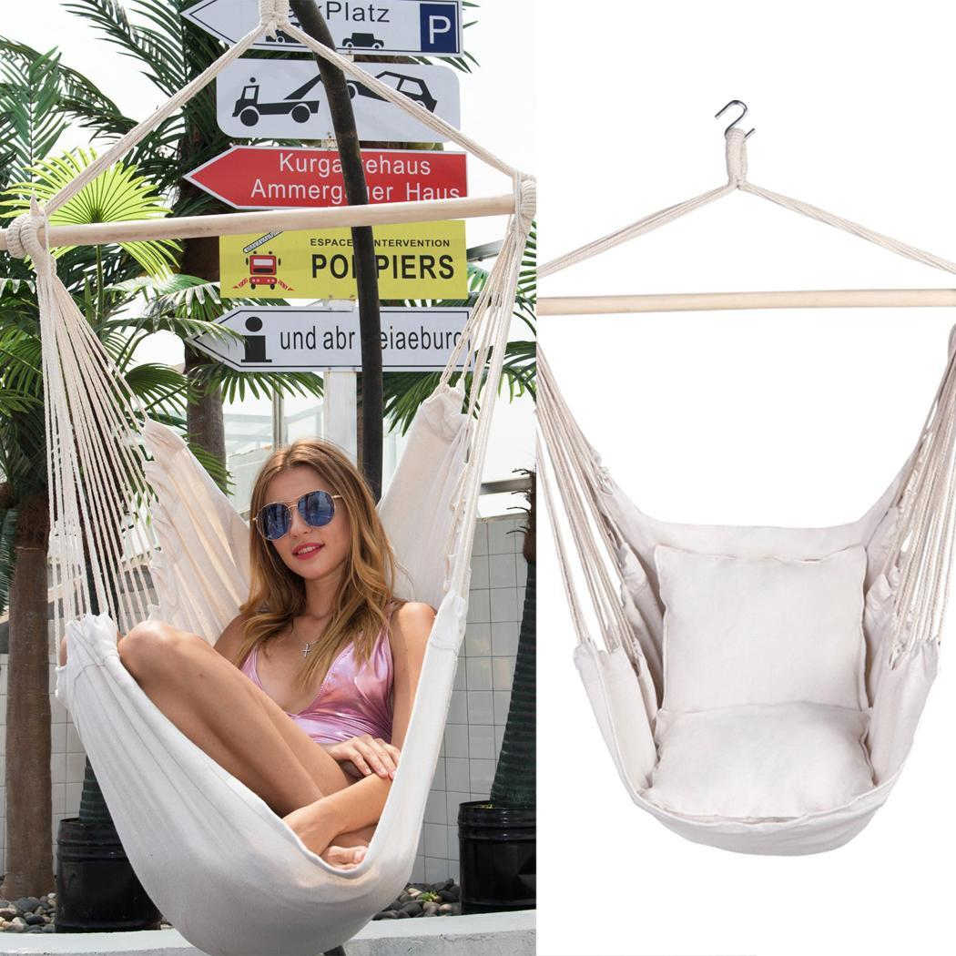Fashion Swing Chair Garden Hammock Chair Portable Travel Camping 1 Person 1 X Chair, 2 X Pillows Hanging Hammock 1 X Swing Chair