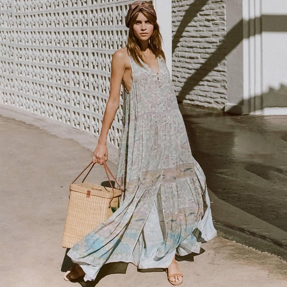 d9a63b644fba2 US $25.92 Oasis Print Chic Maxi Dress Women Summer Sleeveless High ...