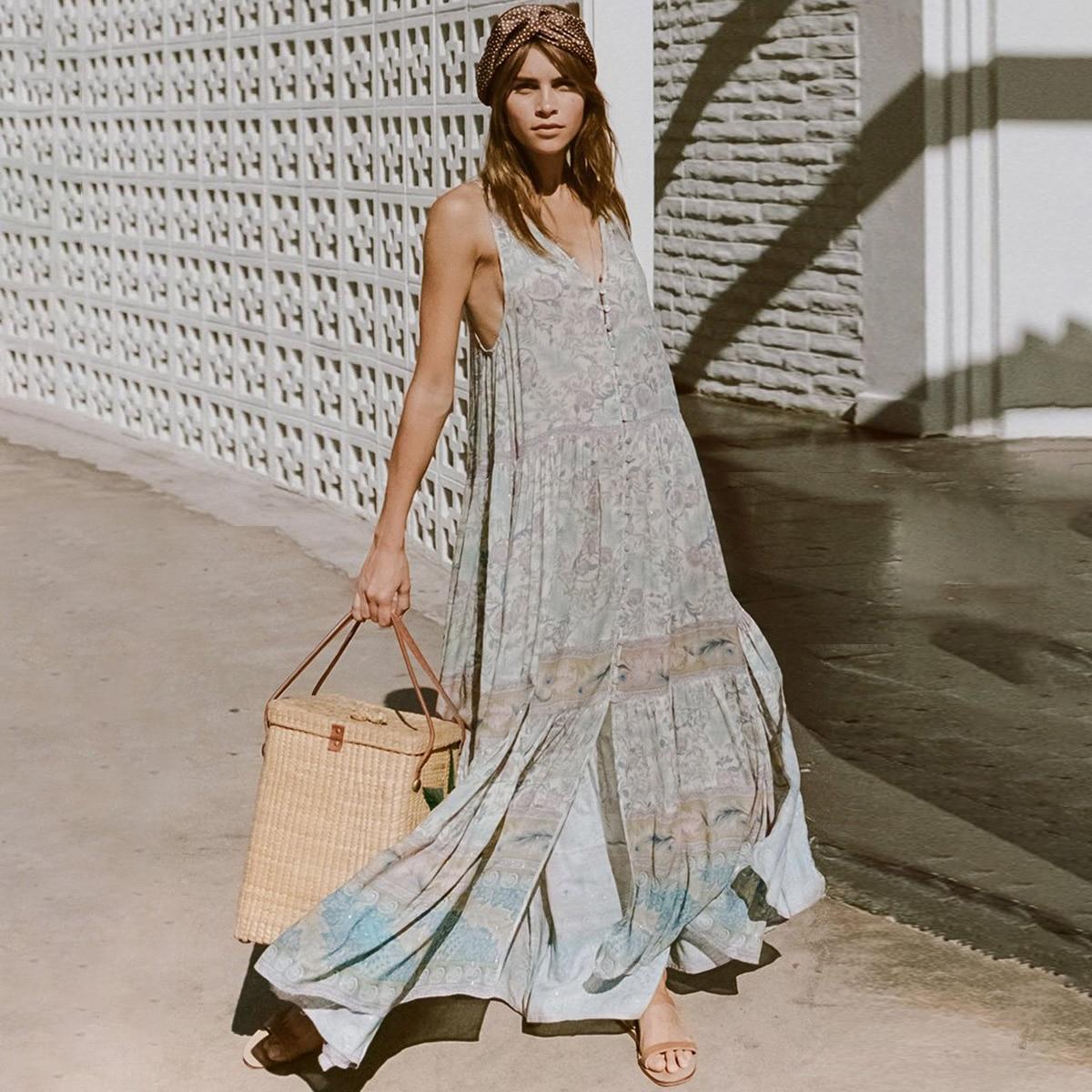 Oasis принт шикарное платье макси Для женщин летние без рукавов высокой распадается обе стороны кнопка вниз сексуальные платья Boho Цветочные П...