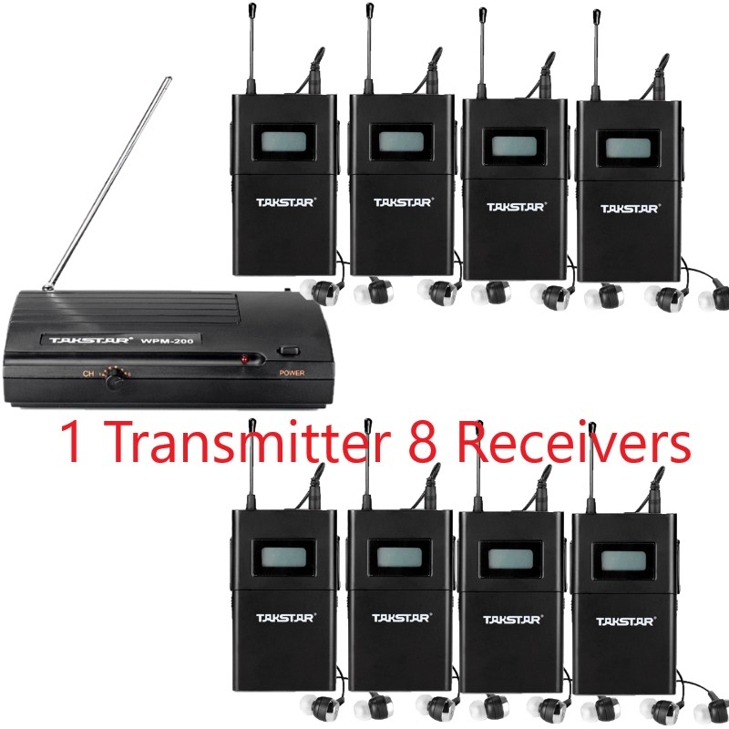 Original Takstar Stage Monitor System wireless system wpm-200 in ear monitor system 1 Transmitter 8 Receivers 8 In-Ear Earphone