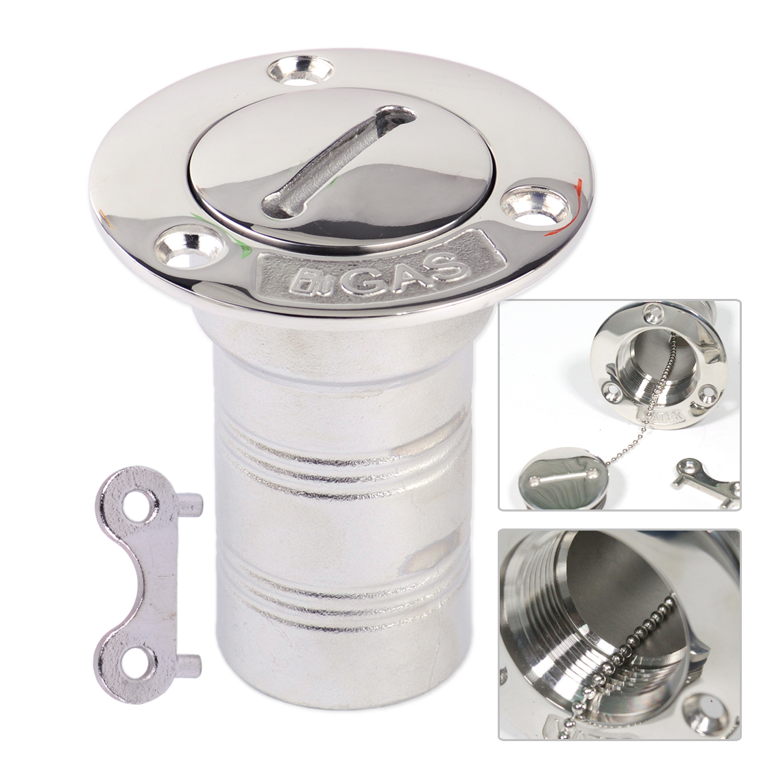 CITALL 1.5inch Silver Stainless Steel Boat Yachts Marine Campervans Trucks Deck Gas Fuel Tank Filler With Cap And Key