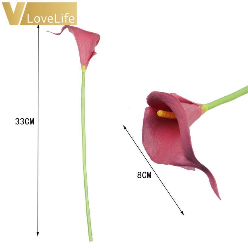 10Pcs Calla Lily ดอกไม้ปลอม PE Foam Bouquet ประดิษฐ์ดอกไม้สำหรับตกแต่งงานแต่งงานวันวาเลนไทน์