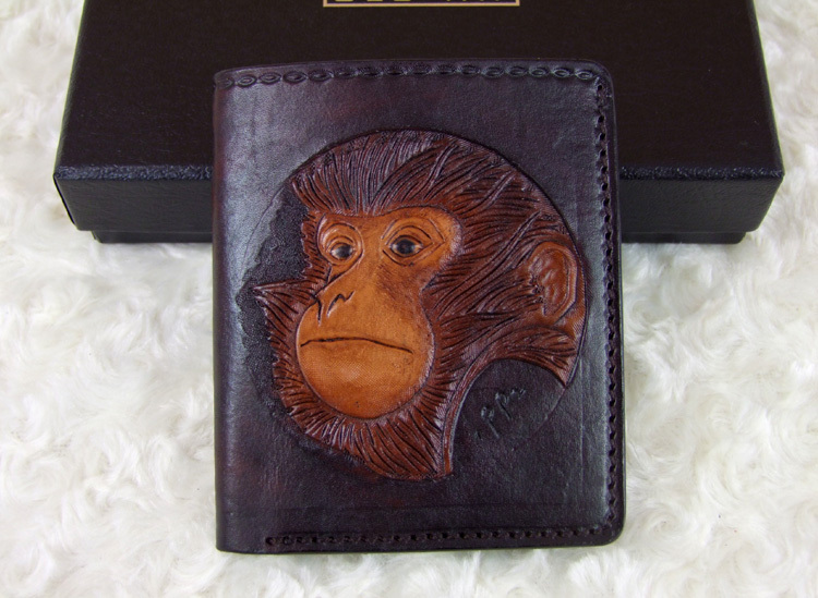 Hong Kong OLG. YAT zodiac monkey carved by hand purse Men's brief paragraph(vertical)purse/ wallet Italian  pure leather wallets hong kong olg yat handmade leather bag one shoulder inclined shoulder bag the fashion mini bag brazilian pure leather package