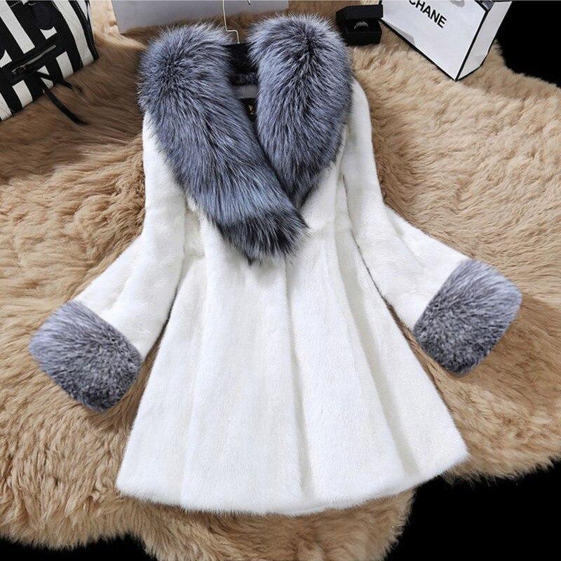 Faux À noir La Veste De S Renard Plus 2018 Manches Col Fausse Blanc Fourrure Nouveau Manteau Turn Femmes 3xl Longues Taille D'hiver down xqIAS6