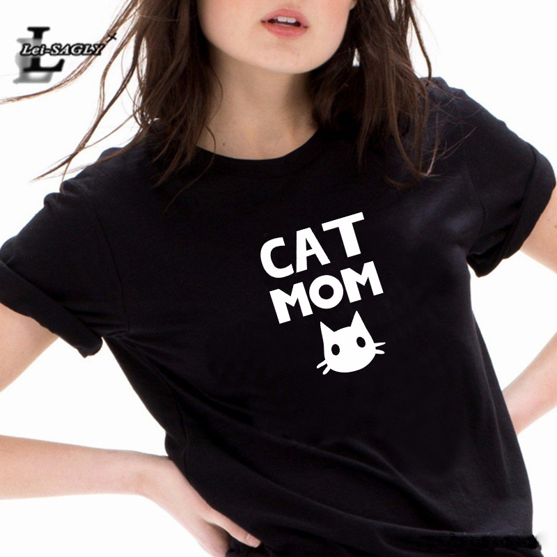 Lei SAGLY Cat Mom Cute Mom Print   T     Shirt   Women Short Sleeve Casual White Tshirt Summer Plus Size Black Hrajuku Mother's   T  -  shirts