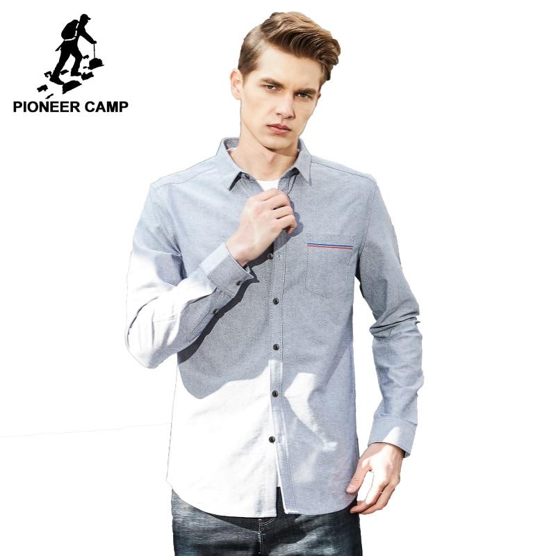 Pioneer Camp New Spring long sleeve casual shirt men brand ...