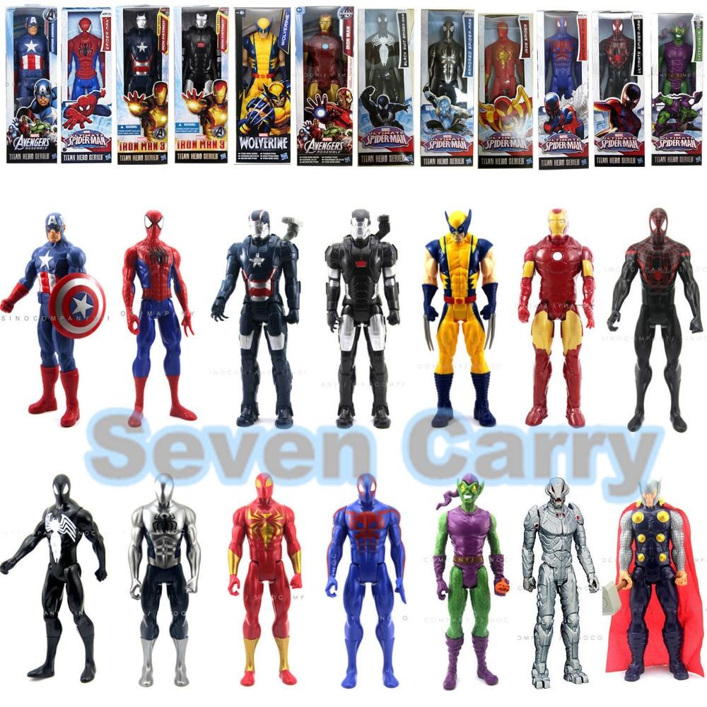 DC Spiderman Avengers Captain America Superheroes Ant-Man Titan Hero Series PVC Action Figures Toys Iron Man Wolverine