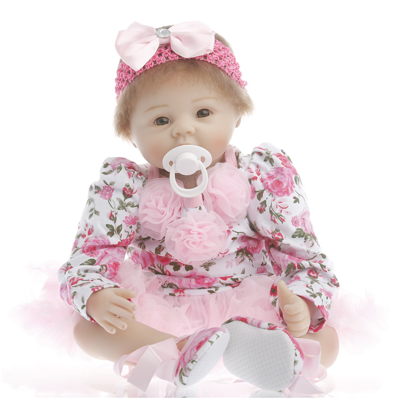 22 inch 55cm baby reborn Silicone dolls, lifelike doll reborn babies toys for girl princess gift brinquedos Children's toys 22 inch 55cm baby reborn silicone dolls lifelike doll reborn babies for children s toys fashion sky blue set doll