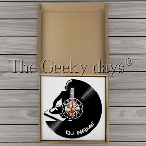 Image 5 - 1 חתיכה DJ אישית מותאם אישית שם ויניל שיא קיר שעון מודרני מנורת קיר שעון LED לילה אור רוק N Roll עבור DJ מתנה