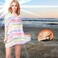 Красочный Плед Старинные Европейский Стиль Свободный Шифон Blusas Лето Пляж Обложка Платье Рубашки Женщин Топы Blusas Femininas Одежда