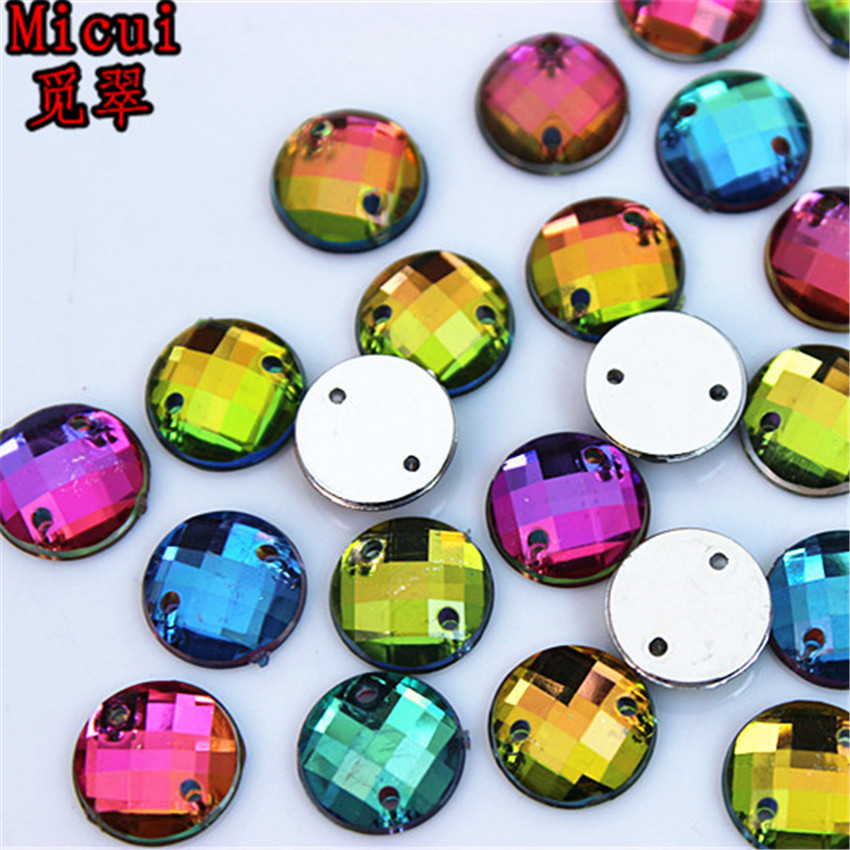 Micui 100pcs 10mm Rainbow Color Round Acrylic crystal Rhinestones Beads For Sewing Wedding Bags Accessores Sew on 2 Hole ZZ370A