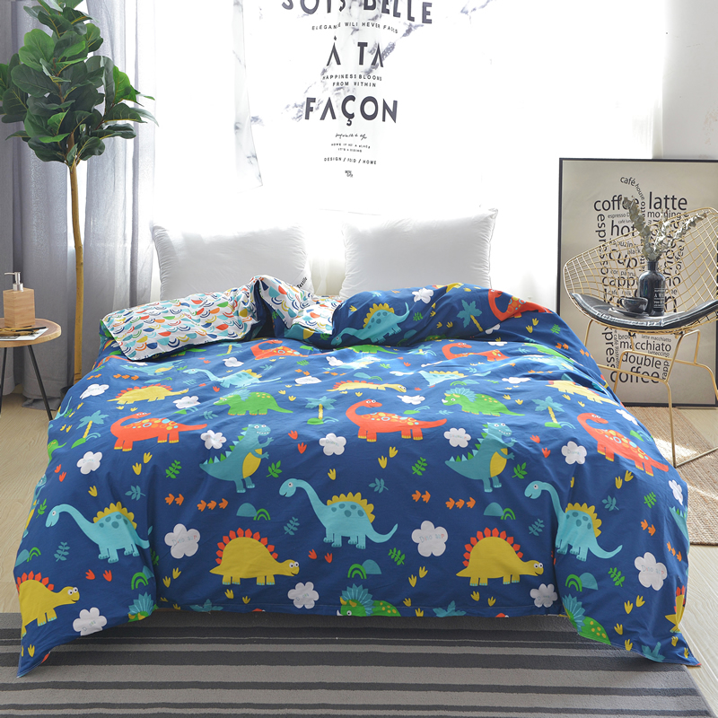 Cartoon Color Dinosaurs Pattern Single Duvet Cover King Queen Size 100% Cotton Comforter Blanket Cover For Husband Wife Bedding
