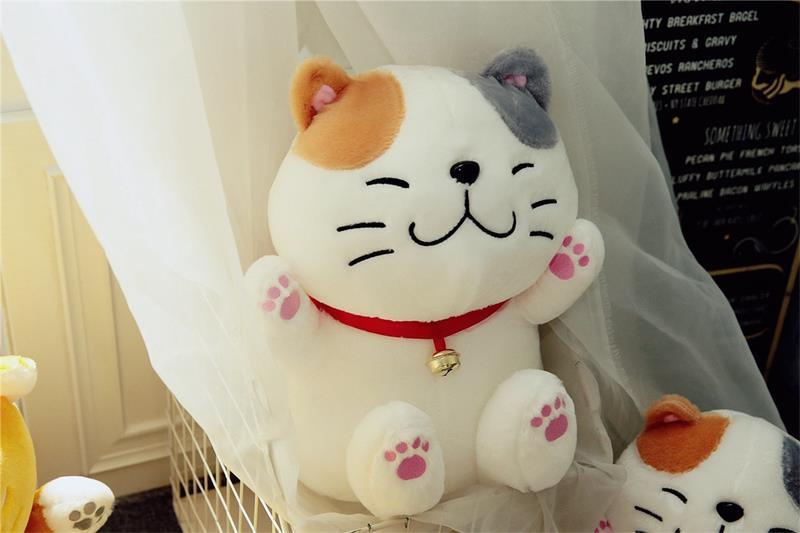 Nouveau style dessin animé fortune chat en peluche jouet grand 40 cm doux poupée jeter oreiller jouet cadeau de noël b1608