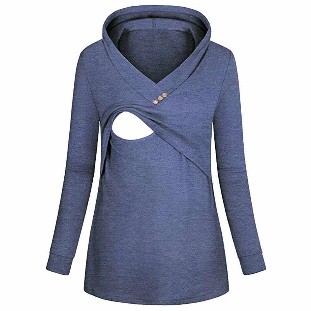19ff9760a6e87 TELOTUNY maternity gown breastfeeding hoooded sweater Nursing Hoodie Long  Sleeves Striped Tops Hoodie Sweatshirt Z1101