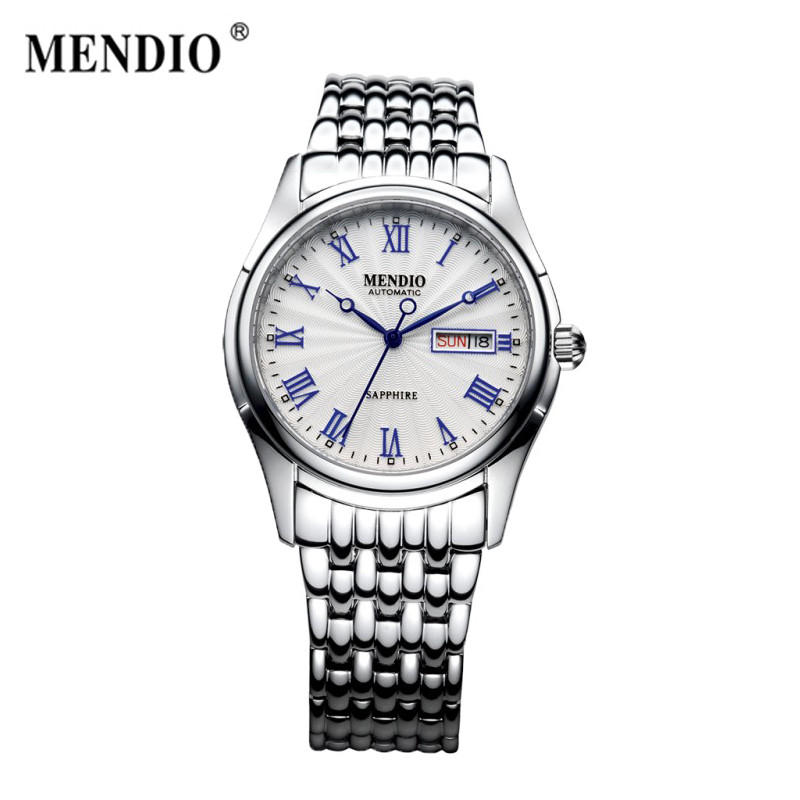MENDIO Original Design Fashion Luxury Brand Mens Steel Watch Automatic Mechanical Male Watches With Calendar Father