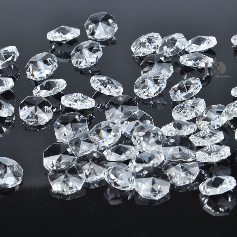 50PCS 14mm Lamp Chandelier Parts Glass Crystal Octagon Beads with ...