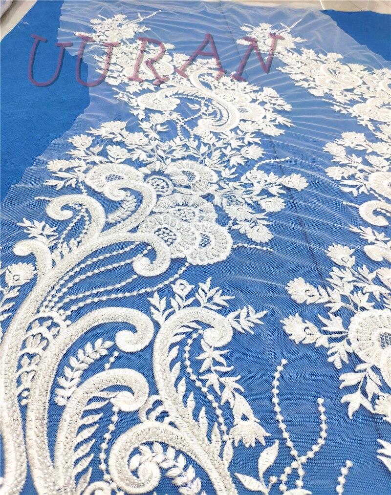 Tissu de tulle brodé tissu de dentelle africaine de haute qualité tissu de dentelle française de mariée blanche