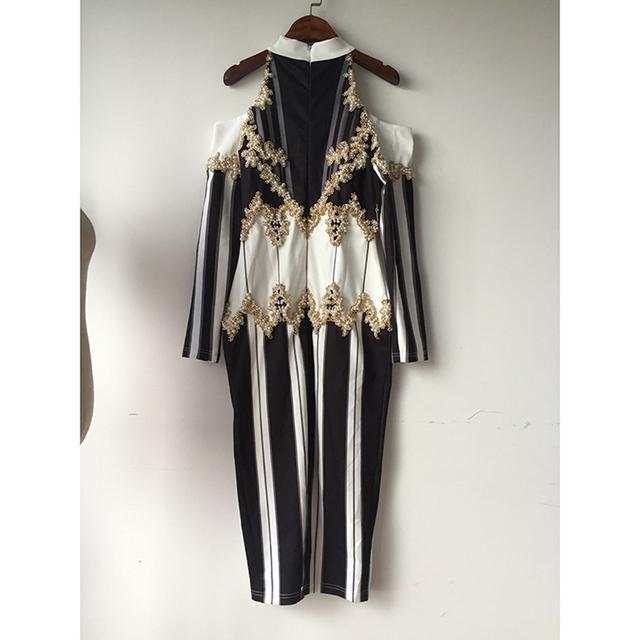 HIGH QUALITY Newest Fashion 2017 BAROCCO Runway Dress Women's Shoulder Exposure Luxury Handwork Pearl Beading Long Dress