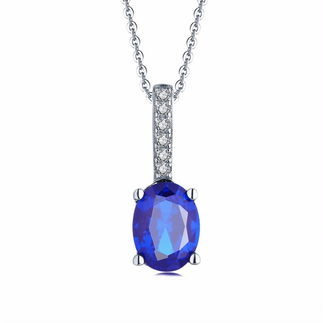 Yl 925 sterling silver crystal necklace pendant with blue sapphire yl 925 sterling silver crystal necklace pendant with blue sapphire spinel stone for women wedding engagement aloadofball Image collections