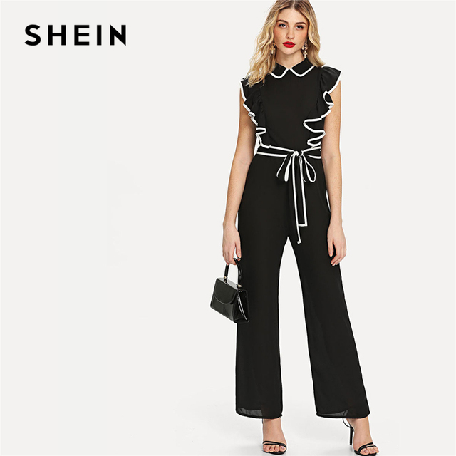 a2ac7b116dc6 SHEIN Black Elegant Workwear Ruffle Armhole Self Belted Wide Leg Stand  Collar Wide Leg Jumpsuit Summer Women Casual Jumpsuit