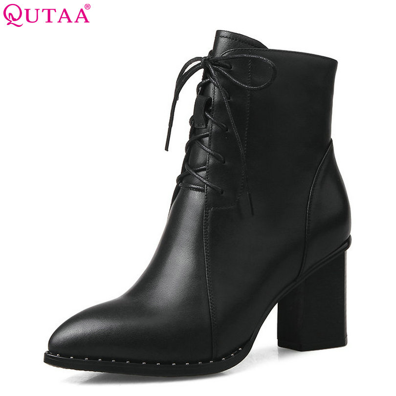 QUTAA 2018 Women Boots Genuine Leather +pu Solid Square High Heel Pointed Toe Lace Up and Zipper Fashion Women Boots Size 34-42 high quality full grain leather and pu mixed colors boots size 40 41 42 43 44 zipper design lace up decoration round toe boots