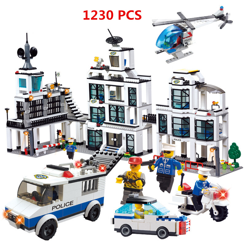 ФОТО 2016 WOMA Brand 1230pcs City Police Station building blocks Action Figures set helicopter jail cell