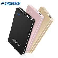CHOETECH B620-BK 10000mAh Ultrathin Mobile Power Bank 5V/2.4A Fast Charger External Battery Bank Light And Small Standby Power