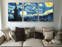Oil Painting Picture coloring By 100% Handmade Wall Art Canvas Paint Home Decor 3pcs Set Starry Night van Gogh for Living Room