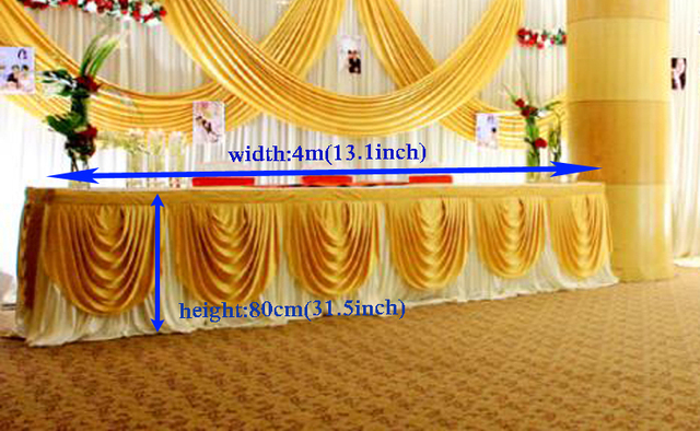 """13.1ft(W)*31.5""""(H) ice silk Tablecloth wedding table skirt banquet table skirting party table skirt with swag table cover"""