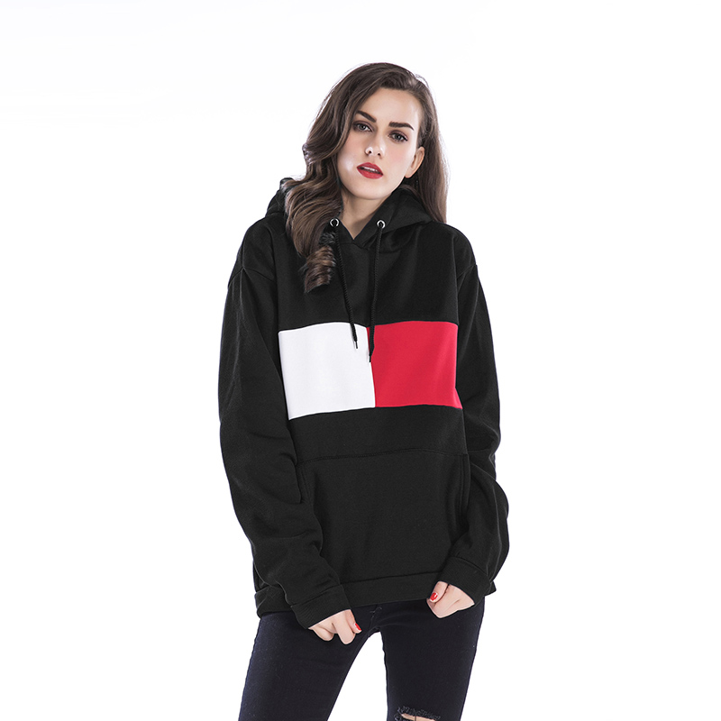d2413a83eb331 Women Casual Loose fitting Hooded Sweatshirt Patchwork Printing Long Sleeve  Pullover Fleece Hoodie -in Hoodies & Sweatshirts from Women's Clothing on  ...