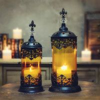 Morocco European Style Retro Bronze Candle Holder Wrought Iron Glass gold fall to the ground storm Lantern