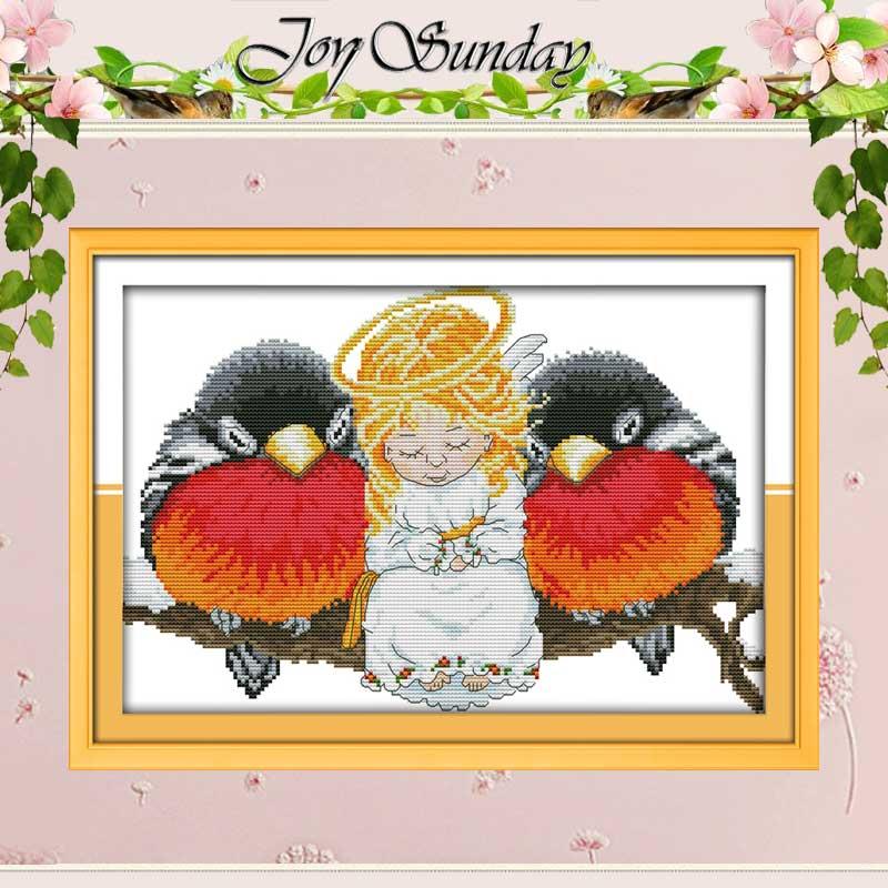 Anjel a ptáci počítají Cross Stitch Handmade 11CT 14CT Cross Stitch Cartoon Bavlna Cross Stitch výstroje Vyšívání pro výšivku