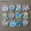 (48 pieces/lot) Cute Handmade Wooden Craft Shapes Pieces adhesive strip on the back side for Baby Shower Boy Girls Babys