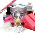 UV GEL NAIL KIT 6 Glitter Powder FILE BLOCKS False Nail Tips Glue Brush Rhinestones nail tools gel kit 201set