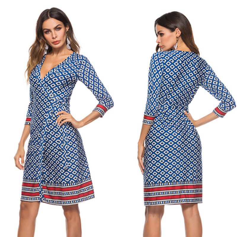 Beach-Dress Seven-Sleeve Print Women's Summer New of Comfortable Superior-Quality Vintage