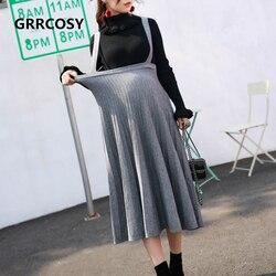 GRRCOSY Корейская Осенняя юбка для беременных с эластичной резинкой на талии, длинная юбка для беременных, Одежда для беременных женщин